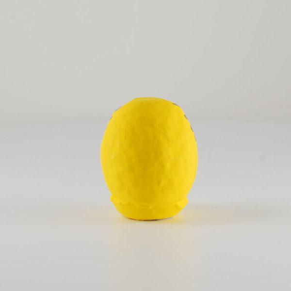 Дарума желтая, 6 см, вид сзади